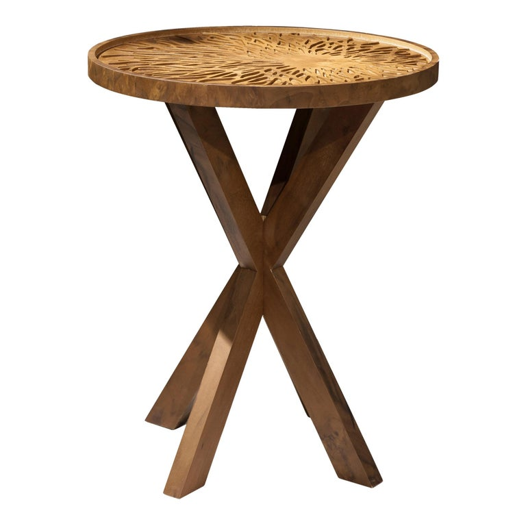 Dali Side Table, Solid Walnut Wood Engraved Side Table For Sale