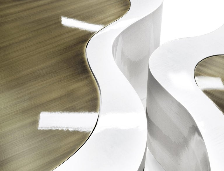 Dalia White Brass Set of 2 Coffee Table For Sale 4