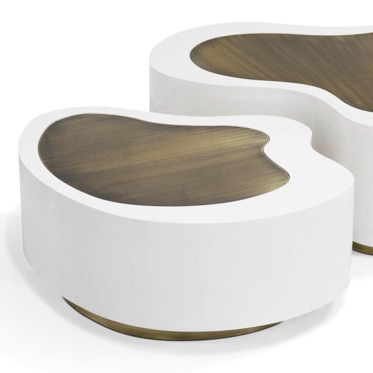 Portuguese Dalia White Brass Set of 2 Coffee Table For Sale