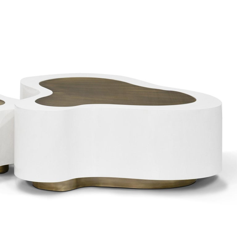 Contemporary Dalia White Brass Set of 2 Coffee Table For Sale