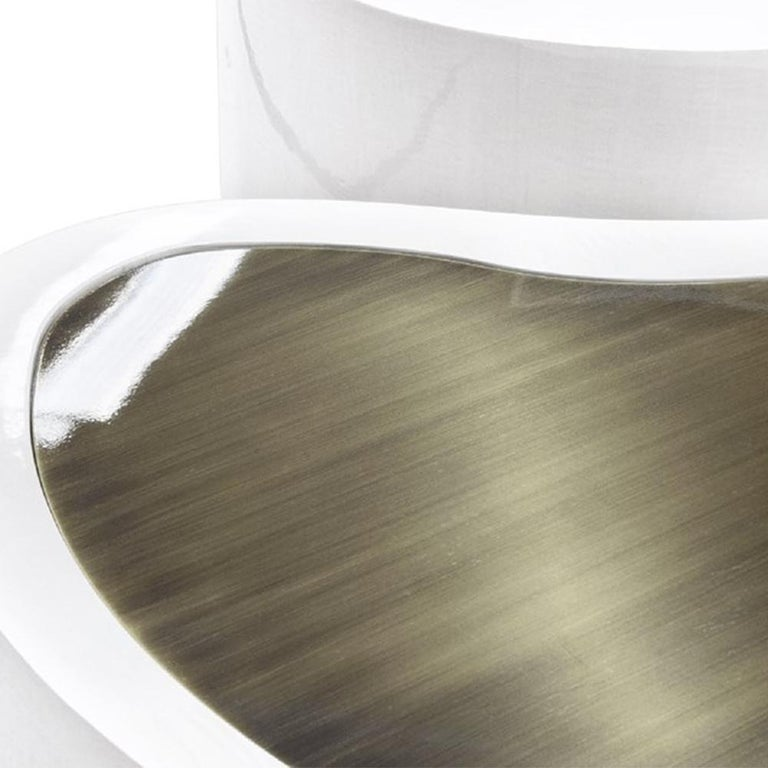 Dalia White Brass Set of 2 Coffee Table For Sale 3