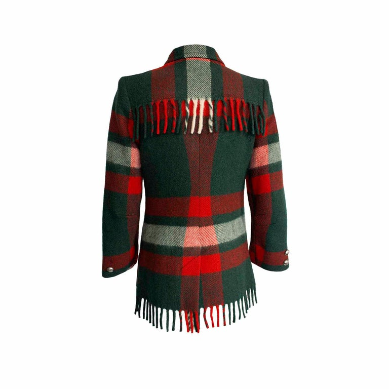 Women's Dall Smith 1950s Vintage Pure Wool Check Tassel Jacket  For Sale