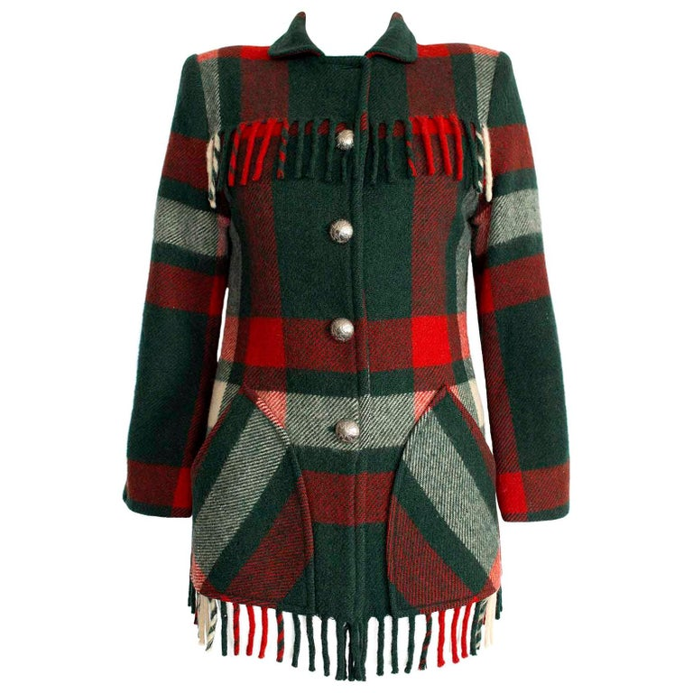 Dall Smith 1950s Vintage Pure Wool Check Tassel Jacket  For Sale