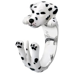 Dalmata Dog Sterling Silver 925 Enamel Customized Ring