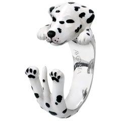 Dalmata Dog Sterling Silver 925 Enamel Customizable Ring