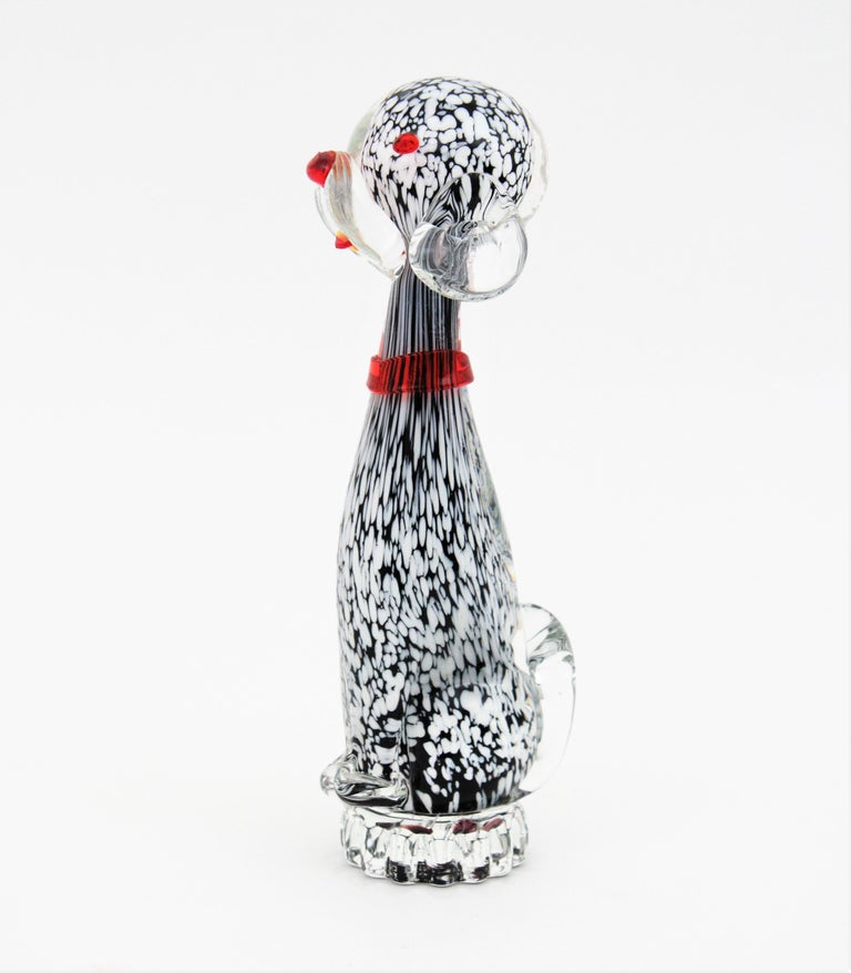 20th Century Dalmatian Murano Glass Black and White Spotted Puppy Dog Figure, Italy, 1950s For Sale