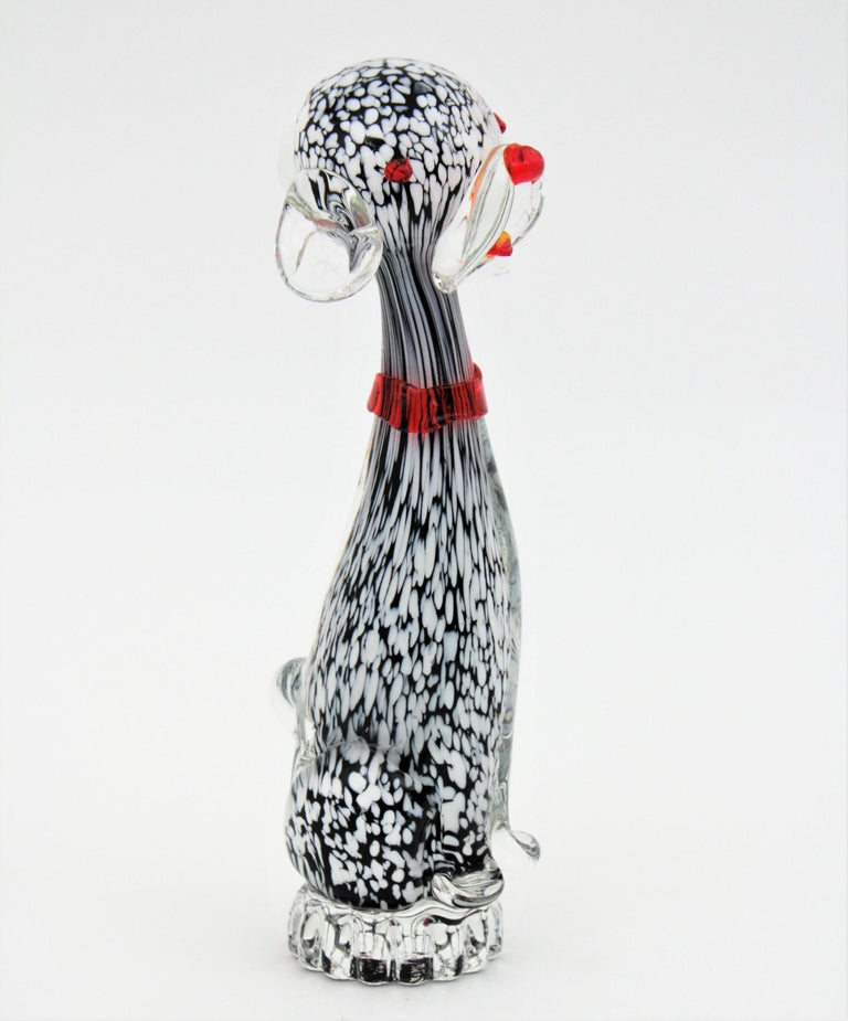 Dalmatian Murano Glass Black and White Spotted Puppy Dog Figure, Italy, 1950s For Sale 1