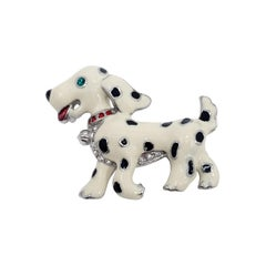 Dalmatian Pup Pin Brooch, Black and White Enamel with Crystals, Late 1900s