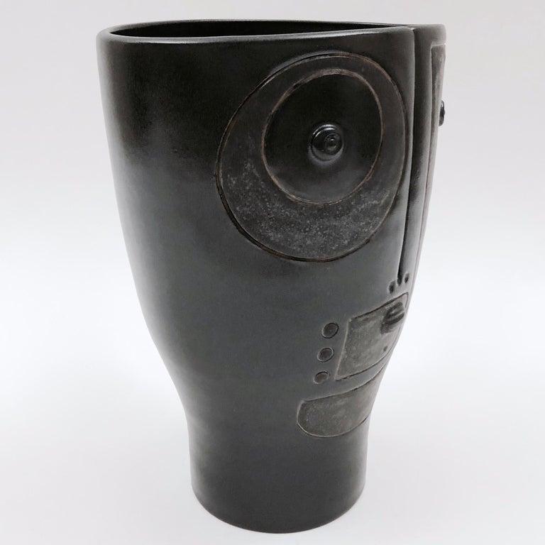 Modern Dalo, Black Ceramic Vase For Sale