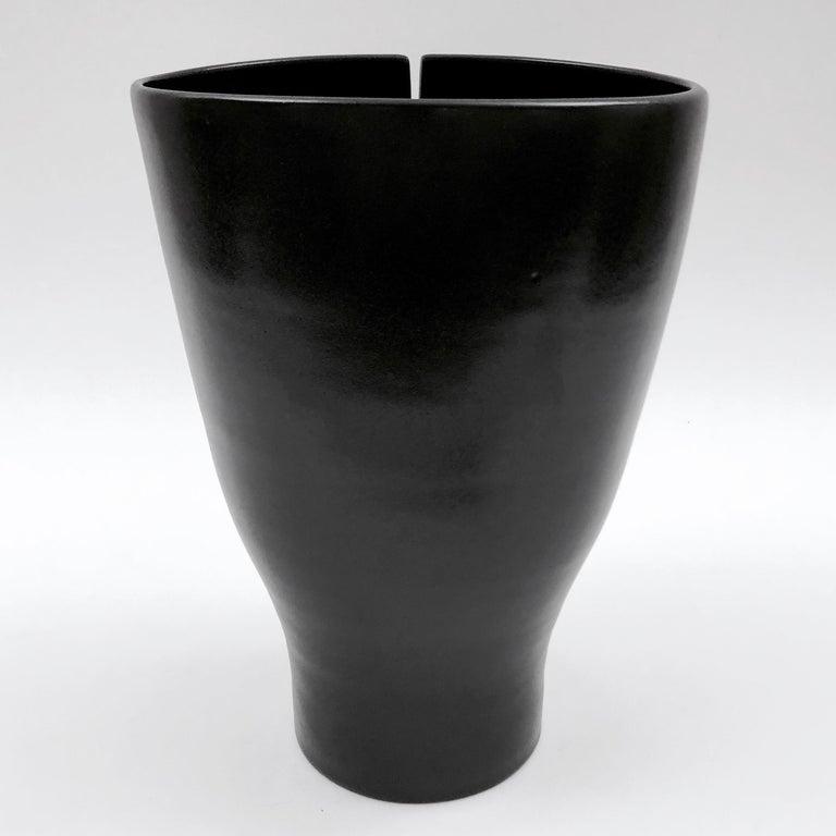 French Dalo, Black Ceramic Vase For Sale
