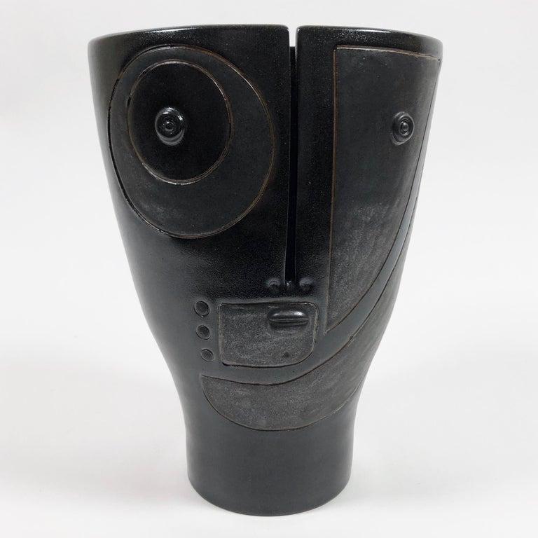Enameled Dalo, Black Ceramic Vase For Sale