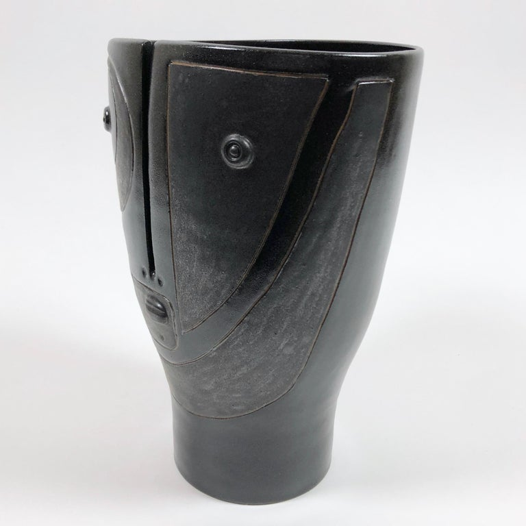 Contemporary Dalo, Black Ceramic Vase For Sale