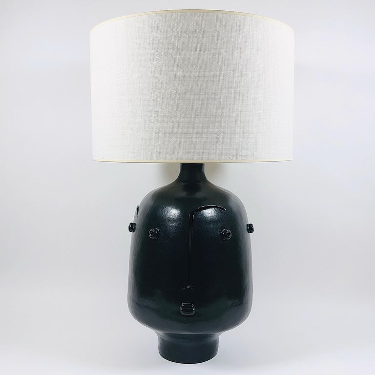 Dalo, Large Black Ceramic Table Lamp In Excellent Condition For Sale In Paris, FR