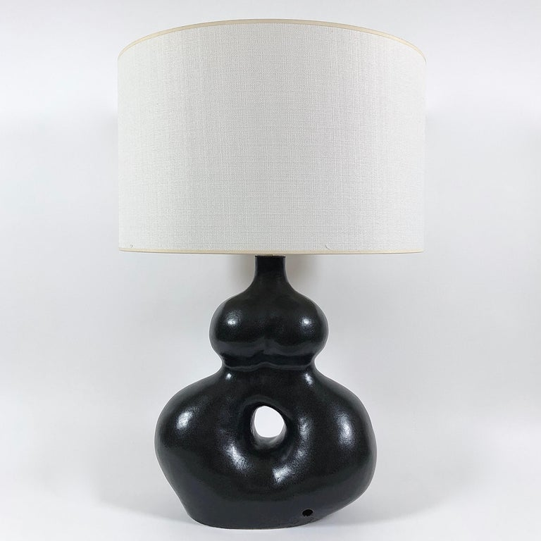 Dalo, Large Black Ceramic Table Lamp For Sale 1