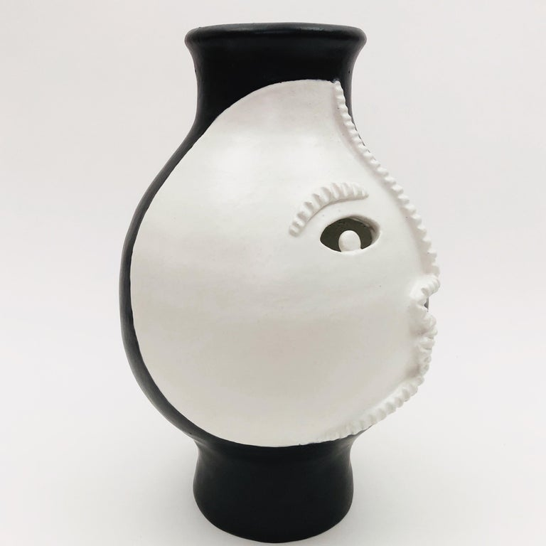 Modern Dalo, Monumental Black and White Ceramic Vase For Sale