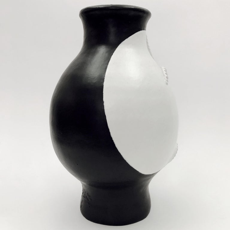 Dalo, Monumental Black and White Ceramic Vase For Sale 1