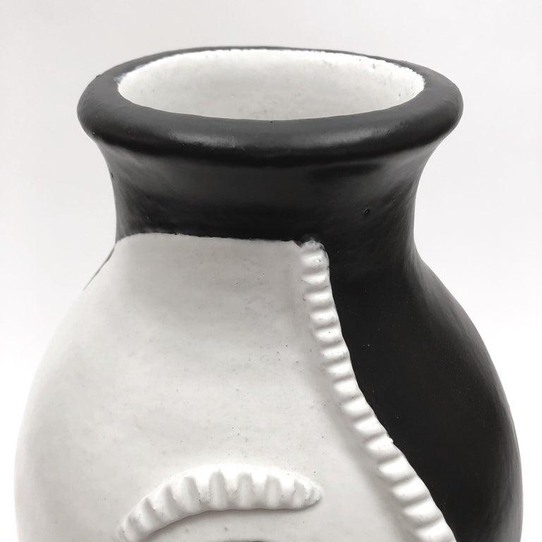 Dalo, Monumental Black and White Ceramic Vase For Sale 2