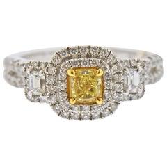 Dalumi GIA 1.30 Carat Fancy Yellow Diamond Gold Engagement Ring