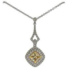Dalumi GIA 2.40 Carat Fancy Yellow Diamond Gold Pendant Necklace