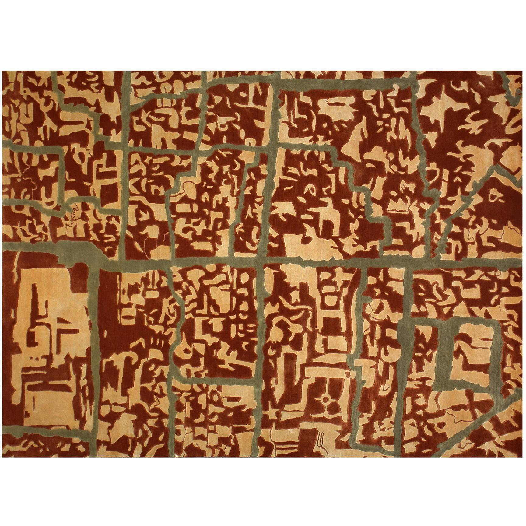 """Rug in Premium New Zealand Wool and Silk, """"Damasco"""" Open Edition"""