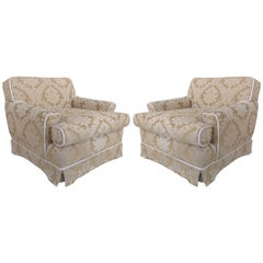 Damask Club Chairs with Down-Filled Cushions, Skirted Bottom and Rope Trim