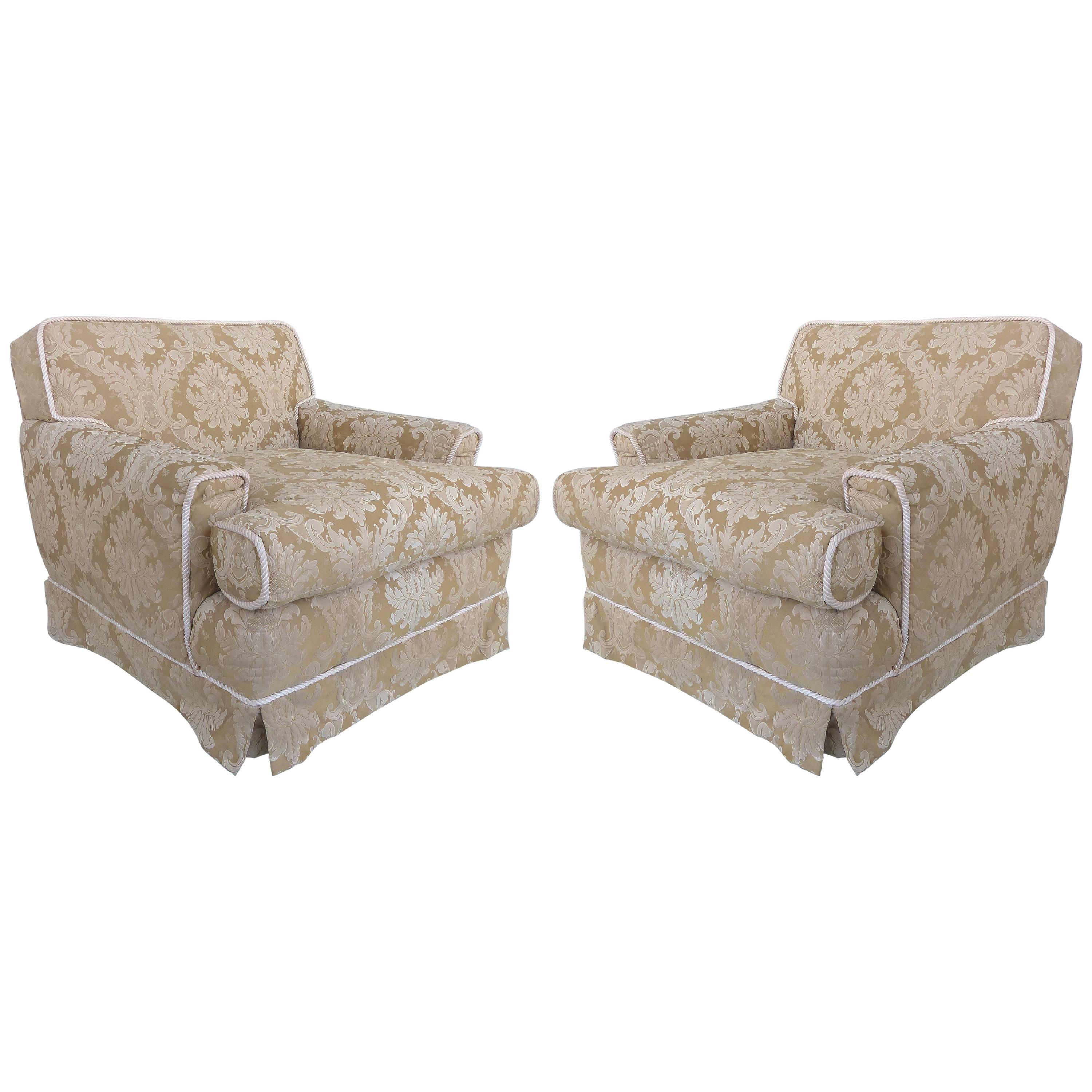 Damask Club Chairs With Down Filled Cushions, Skirted Bottom And Rope Trim  For Sale