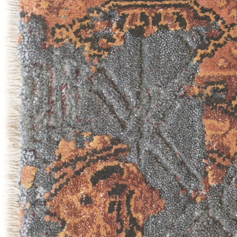 Damask Revise Burnt Rug In New Condition For Sale In Milan, IT