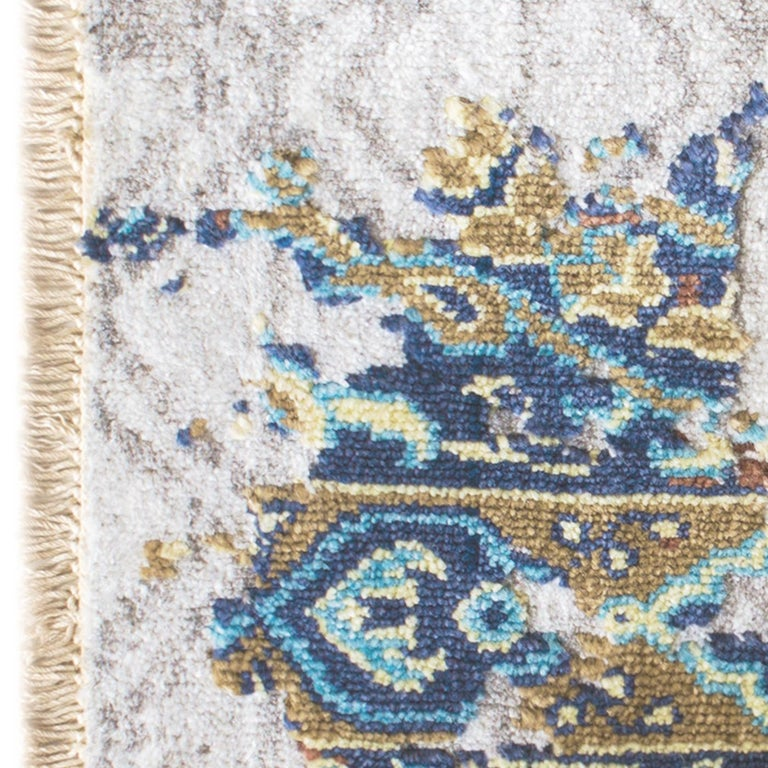 Damask Revise Silver Rug In New Condition For Sale In Milan, IT