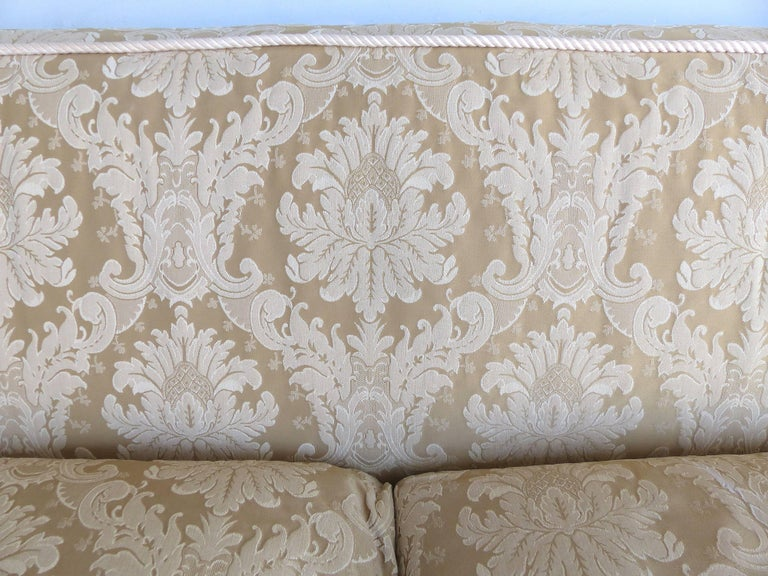 Damask Upholstered Plush Down Filled Sofa With Rope Trim