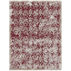 Damask Vintage Crimson Hand Knotted Wool and Bamboo Silk Rug 'Small-Size'