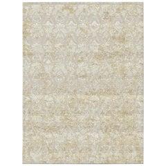 Damask Vintage Gold - Contemporary Designer Hand Knotted Wool Blend-silk Rug