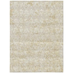 Damask Vintage Gold Hand Knotted Wool and Bamboo Silk Rug 'Large-Size'
