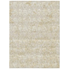 Damask Vintage Gold Hand Knotted Wool and Bamboo Silk Rug 'Medium-Size'