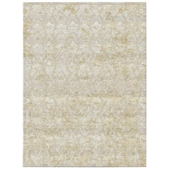 Damask Vintage Gold Hand Knotted Wool and Bamboo Silk Rug 'Small-Size'