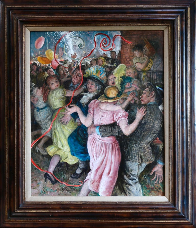 'Appy 'Ampstead - 20th Century Oil, Figures Celebrating at Party by Laura Knight - Impressionist Painting by Dame Laura Knight