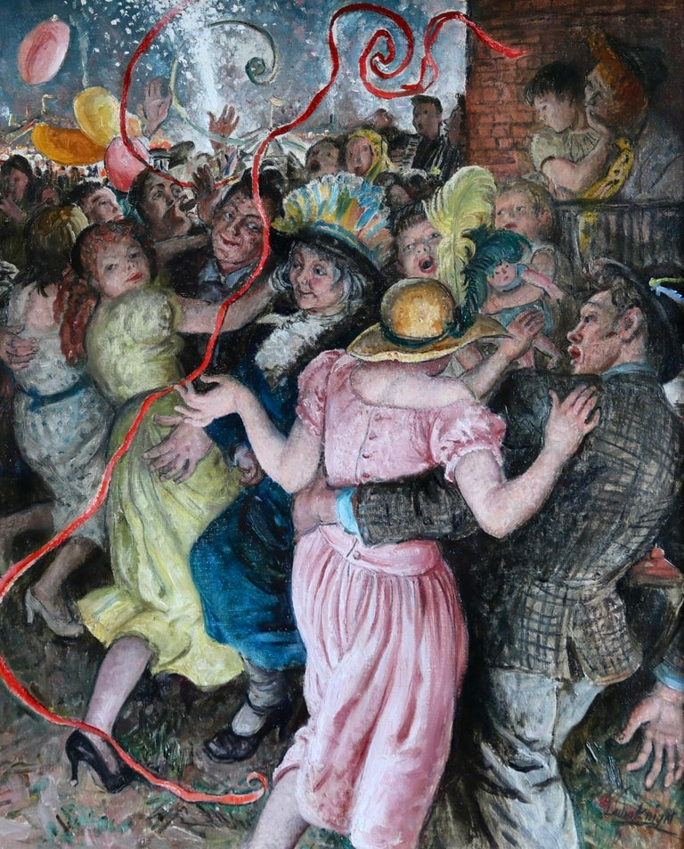 'Appy 'Ampstead - 20th Century Oil, Figures Celebrating at Party by Laura Knight - Painting by Dame Laura Knight