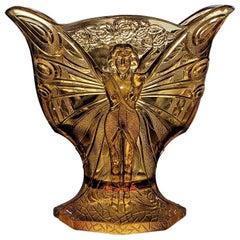 Dame Papillon Art Deco Belgian Amber Glass Vase