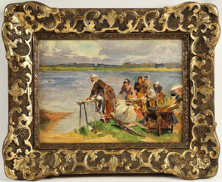 A beautiful oil on panel, The Washerwomen.  Our painting, French school, is an excellent condition and is signed by a famous French artist-painter, Emile-Charles Dameron, circa 1880-1890.  Dimensions unframed: H 9.44 in., W 12.99 in. Dimensions with