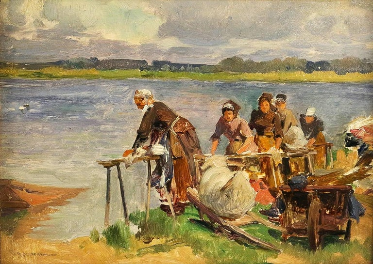 French Dameron Emile-Charles, Oil on Panel, 'The Washerwomen', circa 1880-1890 For Sale