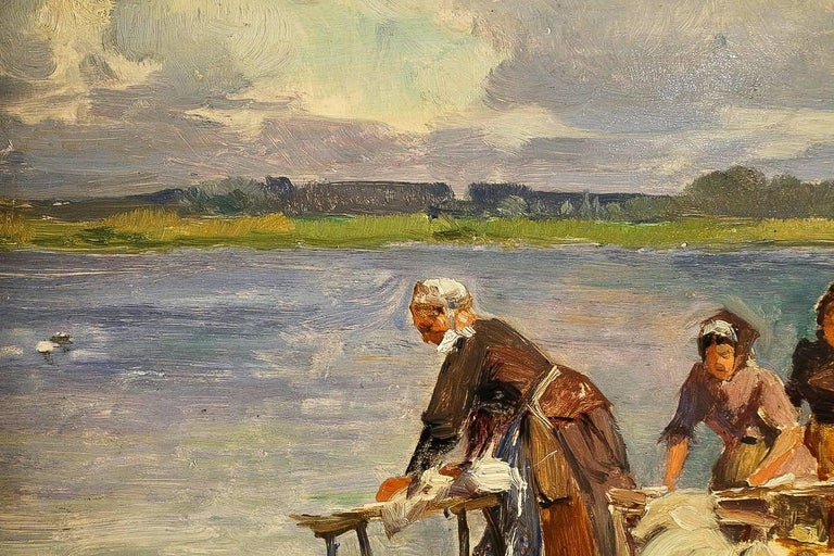 Oiled Dameron Emile-Charles, Oil on Panel, 'The Washerwomen', circa 1880-1890 For Sale