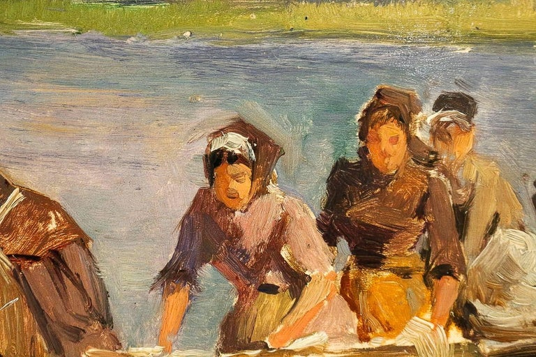 Dameron Emile-Charles, Oil on Panel, 'The Washerwomen', circa 1880-1890 In Good Condition For Sale In Saint Ouen, FR