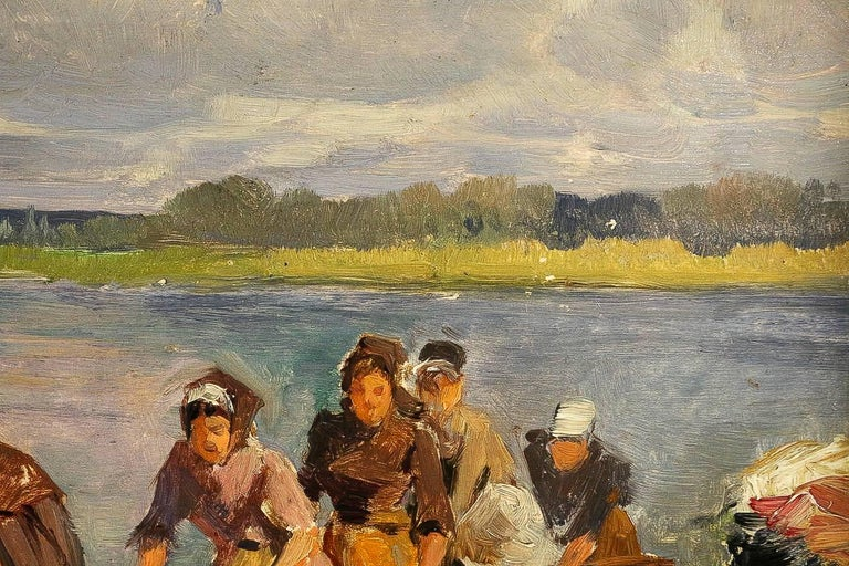 19th Century Dameron Emile-Charles, Oil on Panel, 'The Washerwomen', circa 1880-1890 For Sale