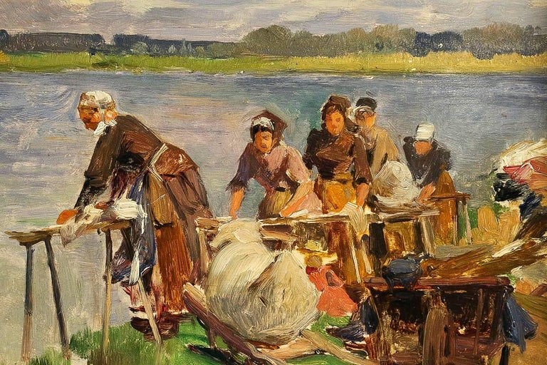 Paint Dameron Emile-Charles, Oil on Panel, 'The Washerwomen', circa 1880-1890 For Sale