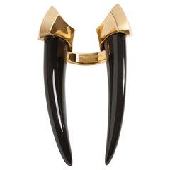 Angie Marei Damian Brevis Black Onyx Horn Ring in 18 Karat Yellow Gold
