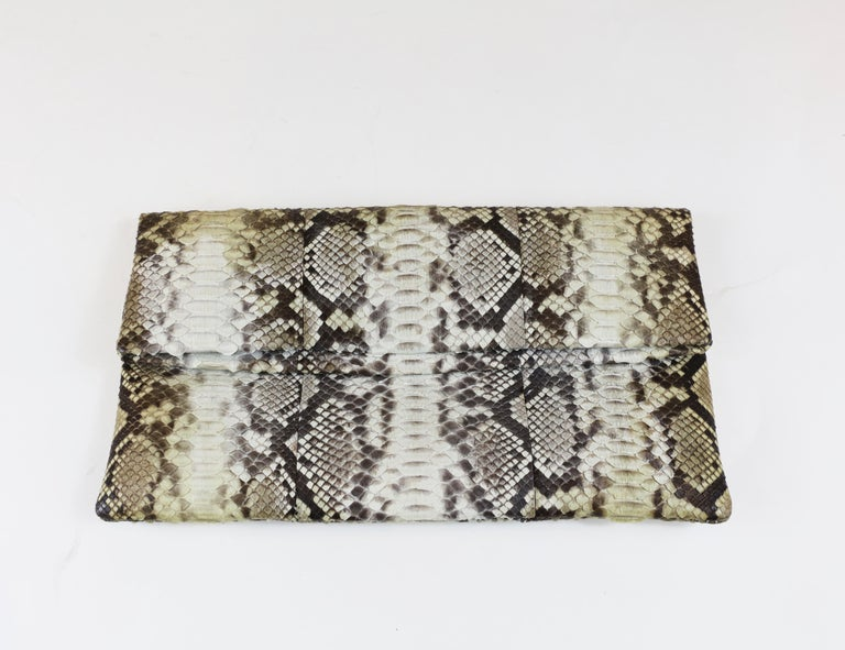 Damian Morrison Gray/Multi Python Clutch with Flap Closure 10.5