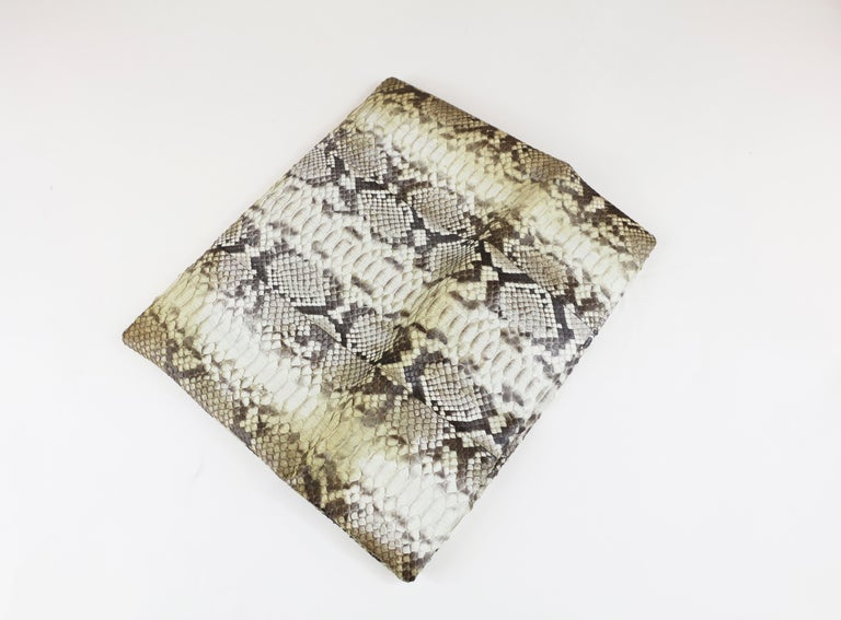 Damian Morrison Gray/Multi Python Clutch with Flap Closure In Excellent Condition For Sale In Bridgehampton, NY