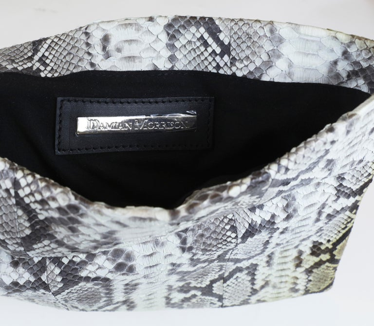 Women's Damian Morrison Gray/Multi Python Clutch with Flap Closure For Sale