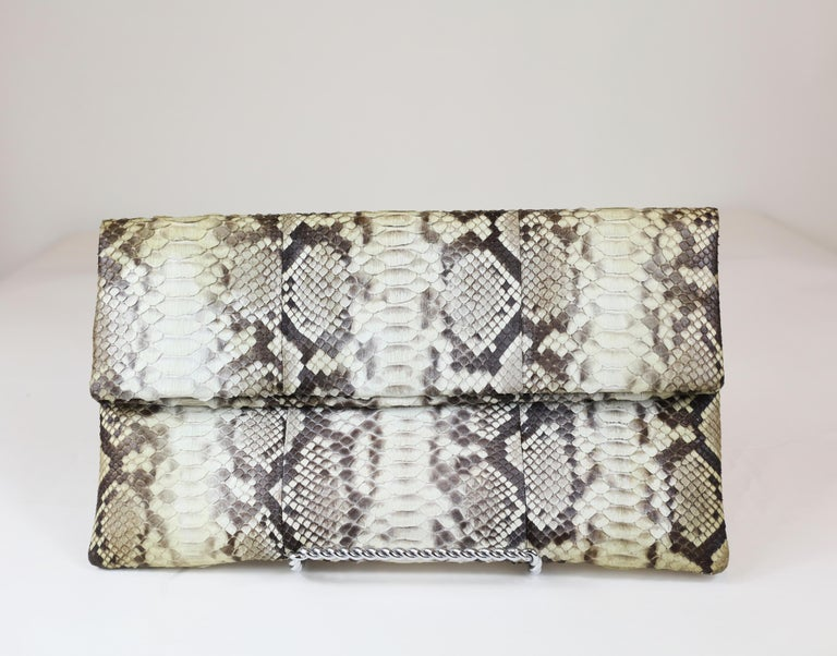 Damian Morrison Gray/Multi Python Clutch with Flap Closure For Sale 1