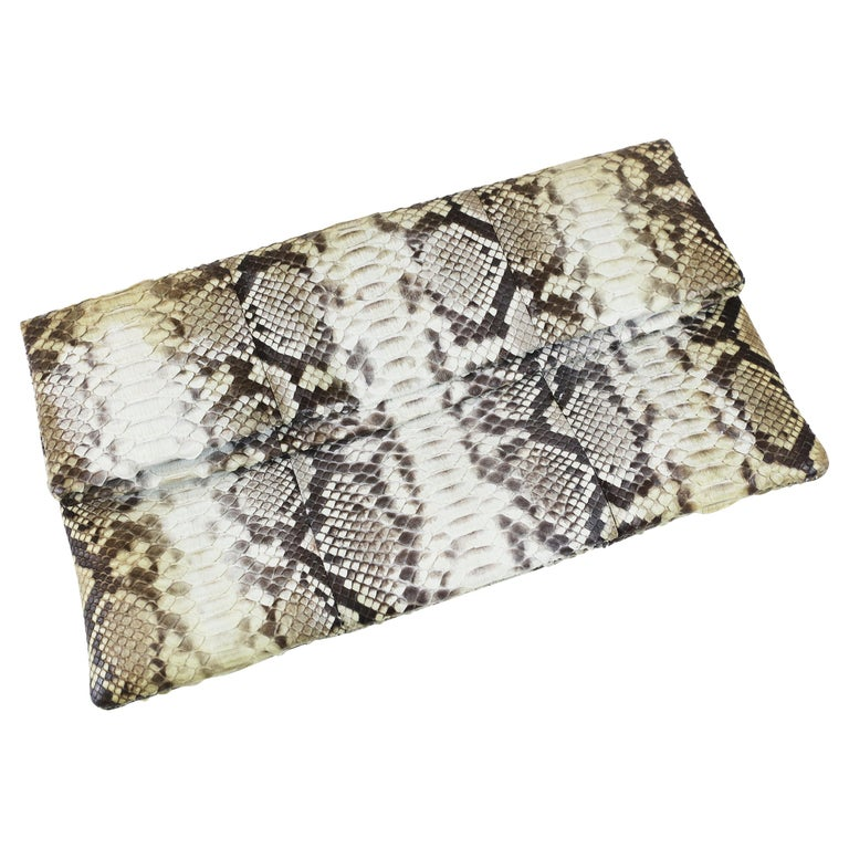Damian Morrison Gray/Multi Python Clutch with Flap Closure For Sale