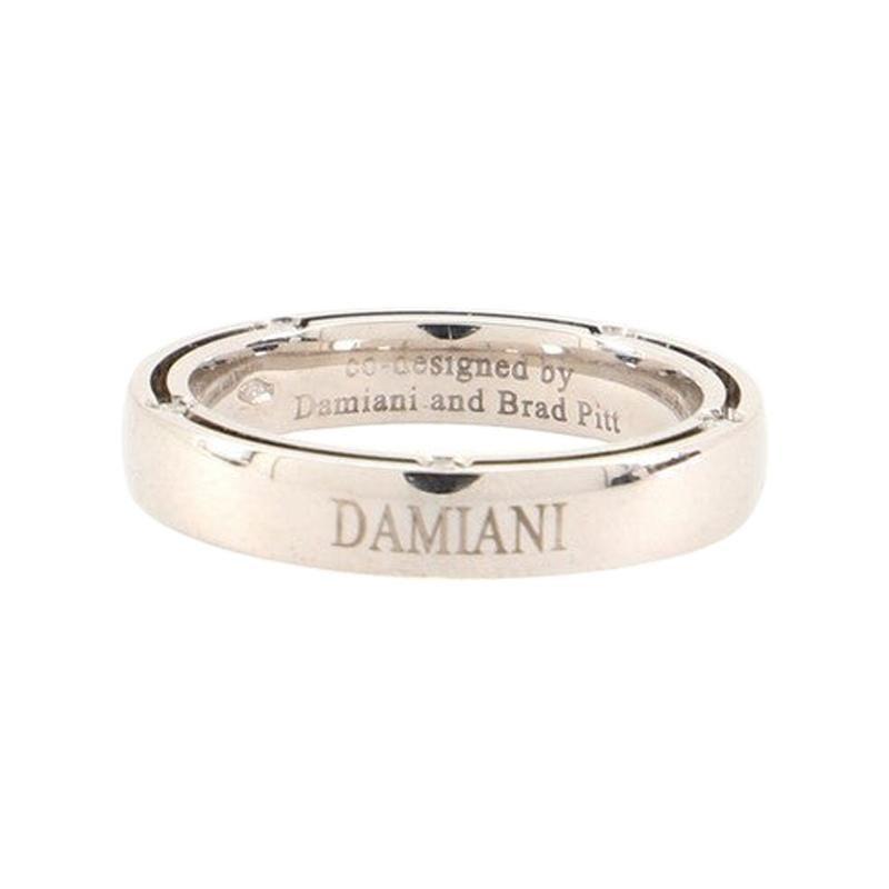 Damiani 10 Diamonds D.Side Wedding Band Ring 18K White Gold with Diamonds